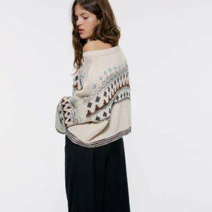 Zara Sweaters - Zara Jacquard Short Sweater Long Sleeve